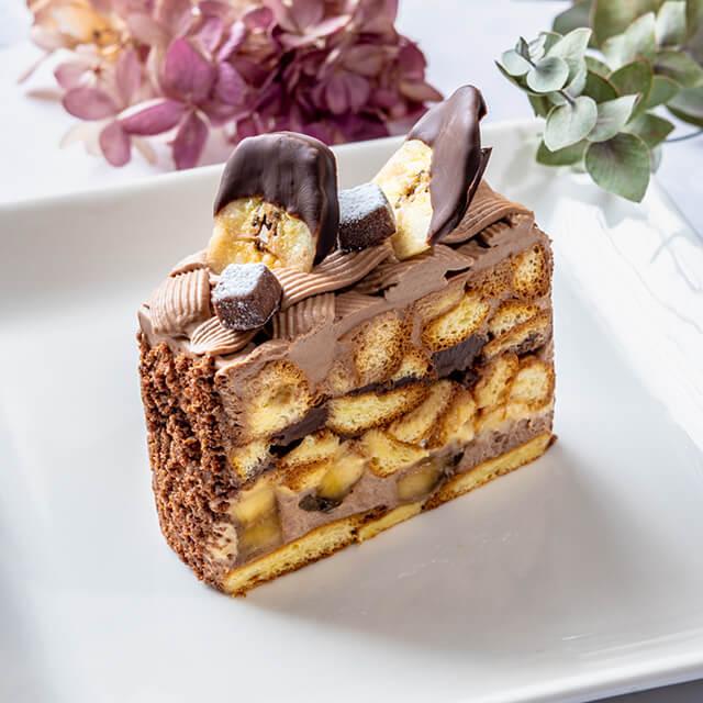 ベリースイーツのチョコバナナのショートケーキ